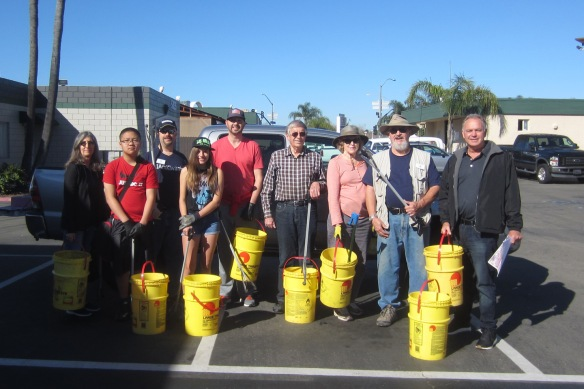 Members of the clean-up crew prepare to venture out into Grantville for a trash collecting expedition. L to R  Marilyn Reed - NCPI, Andrew Ho - LBC, John Crawford - GAG Kiwanis, Samantha Gantney -  President LBC, Sam Assmann - AGCC, Jay Wilson - NCPI, Mary and Tony Haas - GAG Kiwanis, and Dan Smith - NCPI.   Photo provided by Mary Haas (GAG Kiwanis)